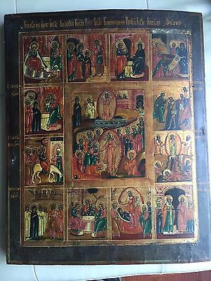 Antique 18th Century Russian Orthodox Icon Resurrection of Christ