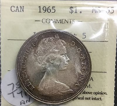 Canada 1965 Silver Dollar ICCS MS 65  Large Beads Blunt 5 BLT GEM UNC Variety