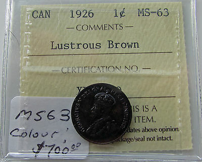 Canada 1926 Small Cent  ICCS MS 63 Lustrous Brown UNC Colour Certified