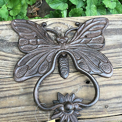 Large Hand Made Cast Iron Butterfly Door Knocker Vintage Antique Style New