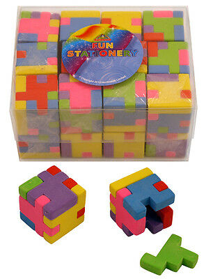 12 Cube Eraser Rubber Novelty Puzzle School Stationary Gift Party Bag Filler Toy