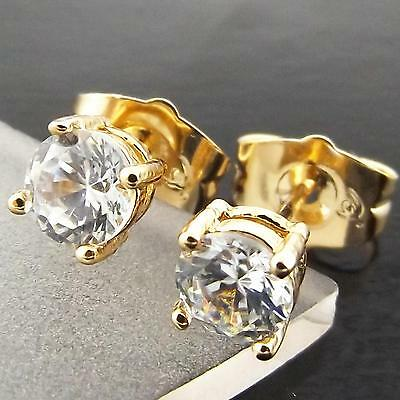 007 Genuine Real 18K Yellow Gold G/f Diamond Simulated Unisex Mens Stud Earrings