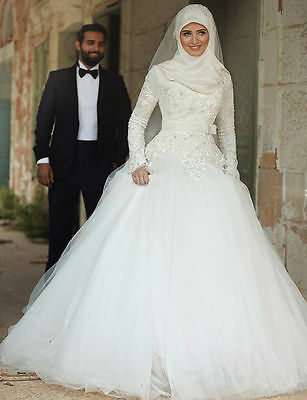 Long Sleeve White Lace A-line Muslim Wedding Dresses Bridal Gowns Size6 8 10 12+