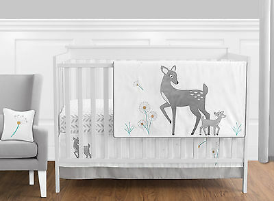 Bumperless Mod Grey White Dandelion Deer Forest Baby Boy Girl Bedding Crib Set