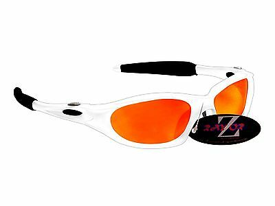 RayZor 478 Uv400 White Framed Red Mirrored Lens Archery Wrap Sunglasses RRP£49