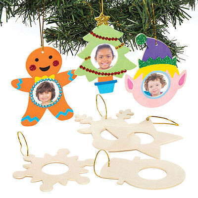 Christmas Wooden Photo Frame Hanging Decoration for Kids to Make Xmas Craft 5Pcs