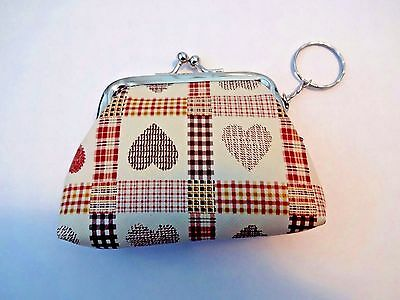 Heart coin change purse brown gingham vinyl metal kiss clasp key ring