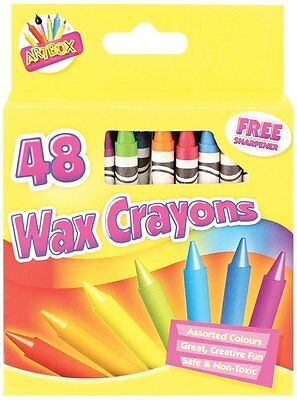 48 Wax Crayons Set with Free Sharpener Assorted Colours Arts for Kids