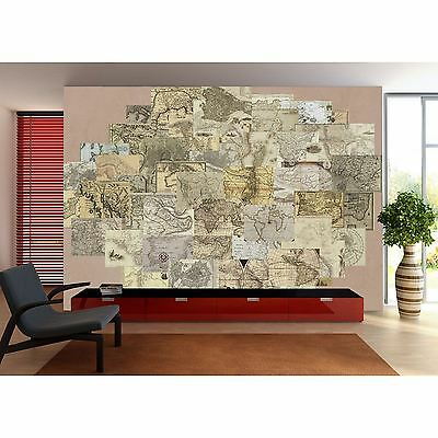 Creative Collage Vintage Maps Designer Wall Mural - 64 Piece Wallpaper