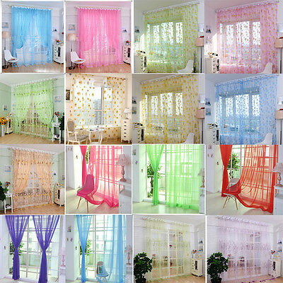 HOT Solid Sheer Voile Window Balcony Curtain Panel Sheer Tulle Room Divider