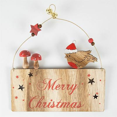 Sass & Belle Wooden Merry Christmas Robin Toadstool Home Decoration Plaque Gift