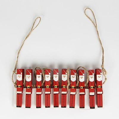 Sass & Belle 10 Wooden Santa Claus Pegs Father Christmas Card Tree Decoration
