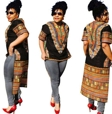 US Women African Print Dashiki Dress Shirt Boho Hippie Gypsy Tops Party Kaftan