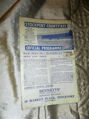 1945/6 Div 3 North Stockport County V Tranmere Rovers 23/2/46