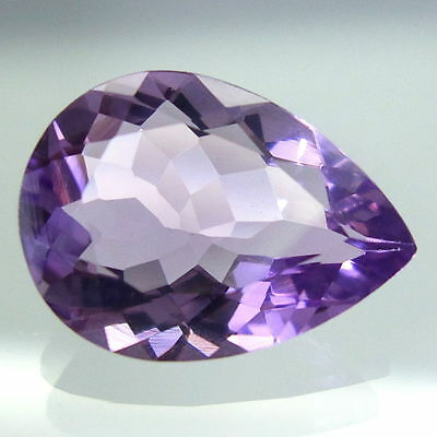 A PAIR OF 8x5mm PEAR-FACET LIGHT-PURPLE NATURAL BRAZILIAN AMETHYST GEMSTONES