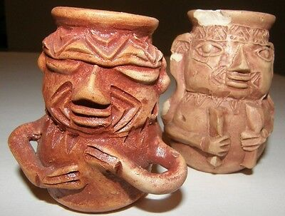 Antique Pre-Columbian COLOMBIA Clay Pottery Artifact Person Tribal Figurine Pot