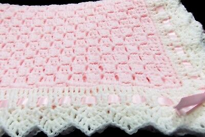 Christening Baby Blanket Soft PINK - white Handmade Crochet Newborn GIRLS