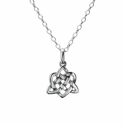 925 Sterling Silver Celtic Trinity Knot & Heart Oxidised Pendant