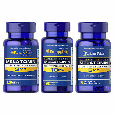 Puritan's Pride Melatonin 3 mg / 5mg / 10mg Sleep Aid Improve Antidepressant
