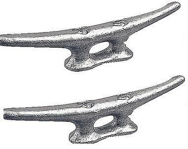 """Marine Dock Cleat 6"""" Galvanized Open Base Boat 2 Pack"""