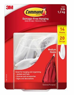 3M Command Damage-Free Designer Hook,14 Hooks, 20 Strips Value Pack Holds 3 lb