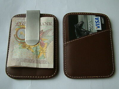 New Ultra Slimline Premium Leather Money Clip & Credit Card Holder Mens Gift