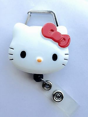 "Hello Kitty 45mm / 1.9"" Carabiner Retractable Reel ID Badge Holder_Red Bow 1pc"