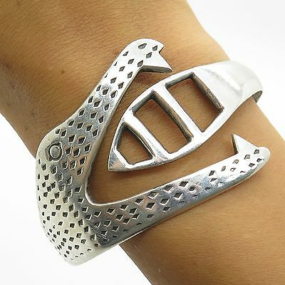 Mexico Sterling Silver Unique Stylized Alligator Shaped Spring Cuff Bracelet 7""
