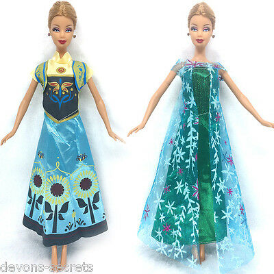2 x girls toy doll BARBIE FROZEN style dress princess set outfit dresses BC71