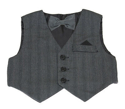 NEW Grey Vest & Bow Tie Set for Infants, Toddlers, and Boys