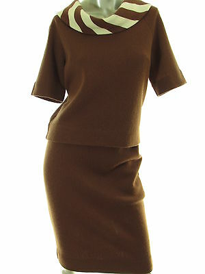 Vintage Kimberly Knit Brown Skirt Top 2 Piece Set Solid Wool Ladies Size 10