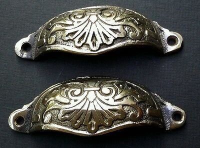 "2 Apothecary Drawer Pull Handles""POLISHED"" Brass 4 1/8"" Ant. Victorian Style #A1"