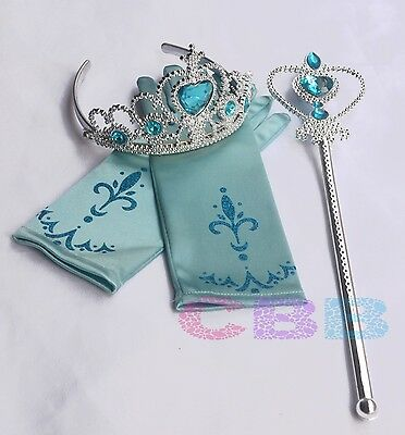 Frozen Elsa Anna Tiara Crown Wand Printing New Gloves Costume Dress Cosplay