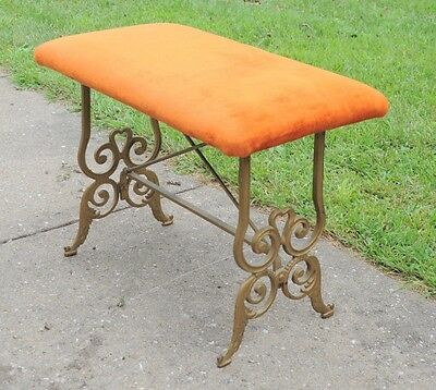 19th Century Antique Victorian Cast Wrought Iron Piano Bench Seat Reupholstered