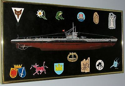 "ORIGINAL FRAMED MARITIME ART: TYPE VII C U-BOAT with 12 ""Gray Wolf"" Emblems"