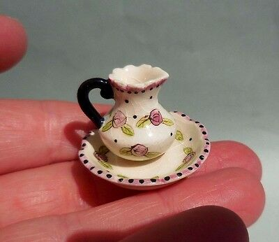 Dollhouse Miniature ~  Flower Pattern Pitcher And Bowl Set ~ Ceramic