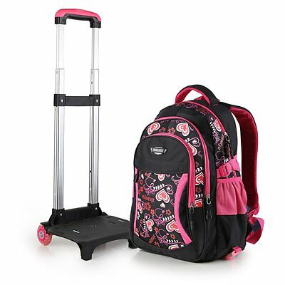 Child Kid Nylon Wheeled Trolley Backpack Removable School Hand Luggage Schoolbag