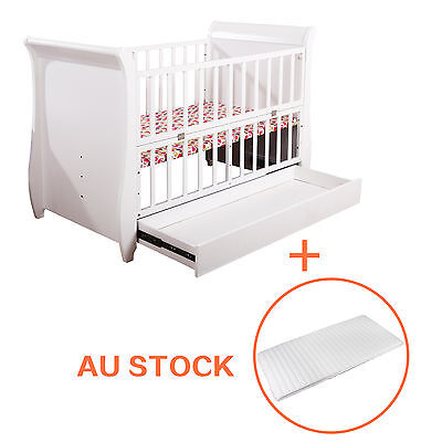 EMALL 3in1 Baby Toddler Wooden Cot Crib with Mattress, Adjust Height,White