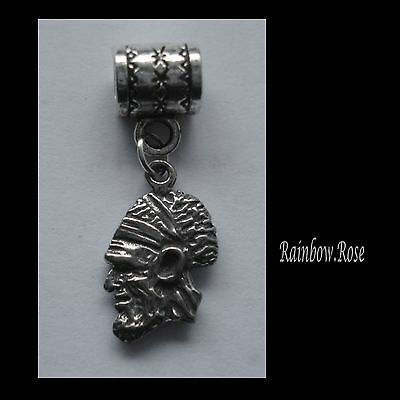 PEWTER CHARM suit European Bracelet #2326 ABORIGINAL HEAD (16mm x 10mm)