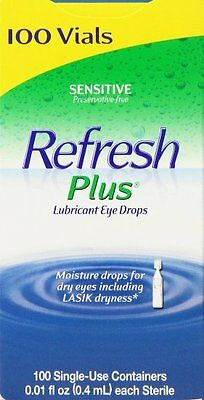 Refresh Plus Lubricant Eye Drops, Moisturizing Relief, 100 Single Vials Dry eyes