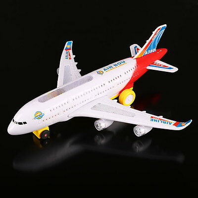 Electric Airplane Moving Flashing Lights Sounds Child Kids Aeroplane Toy Gift