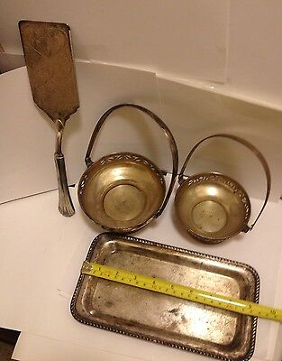 Victorian 4 Silverplate Lot: Cake Server, Bowls W/ Handles + Small Tray#70216
