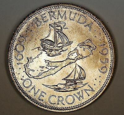 1959 Bermuda Crown Silver Uncirculated Comm Coin in Black Plastic Display Case