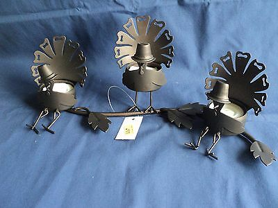 Yankee Candle Turkeys On A Branch Tealight Candle Holder Thanksgiving Metal