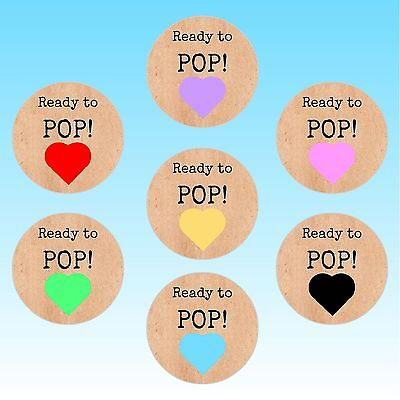 24 Round Ready to Pop Heart Baby Shower Stickers Shabby Vintage Labels Seals