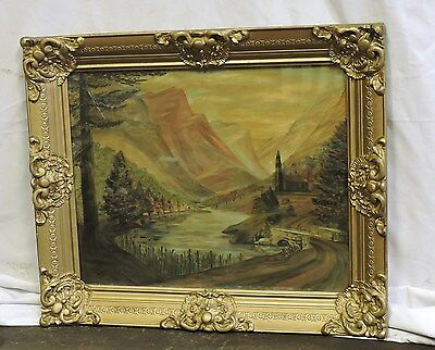 1949 Oil On Canvas Painting Landscape Scene Signed W/ Antique Wood Frame 21 X 25