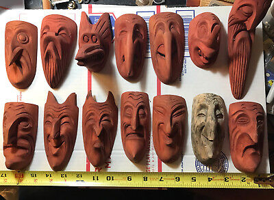 (14) antique 1960s Japanese hand carved wood masks Japan rare xlnt cond.