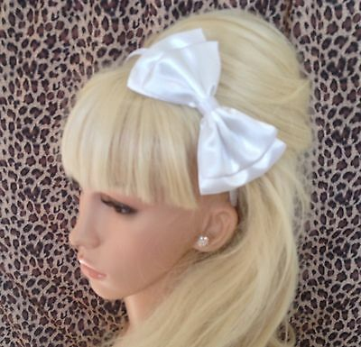"""New White Satin Fabric 5"""" Double Side Bow Alice Hair Head Band Wedding Bridal"""