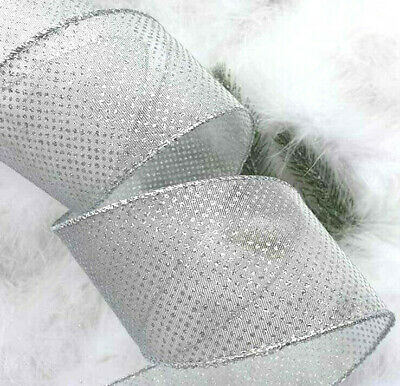 1m x 63mm WIRED CHRISTMAS RIBBON SHEER SPARKLY SILVER GLITTER DOTS GIFT TREE,BOW