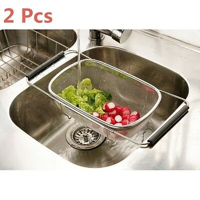2 Pcs Over Sink Strainer Stainless Steel Sieve Colander Drainer Expandable Mesh